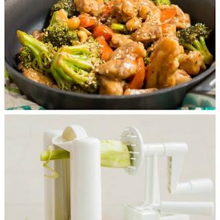 Spicy Cashew Chicken Stir Fry over Broccoli Noodles