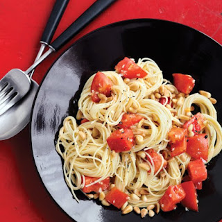 Pasta with Fresh Tomatoes and Pine Nuts.