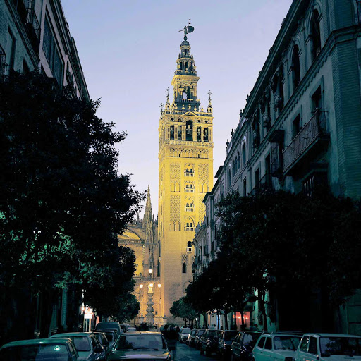 Built by the Moors between 1184 and 1197, this minaret Giralda tower in Seville, Spain, was repurposed and became a bell tower after the Christians' conquest in 1568.