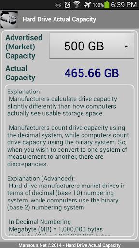 Hard Drive - Actual Capacity