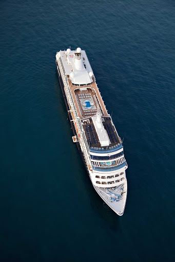 Azamara-Quest-top-view - An aerial view of Azamara Quest off the shore of Monte Carlo, Monaco.