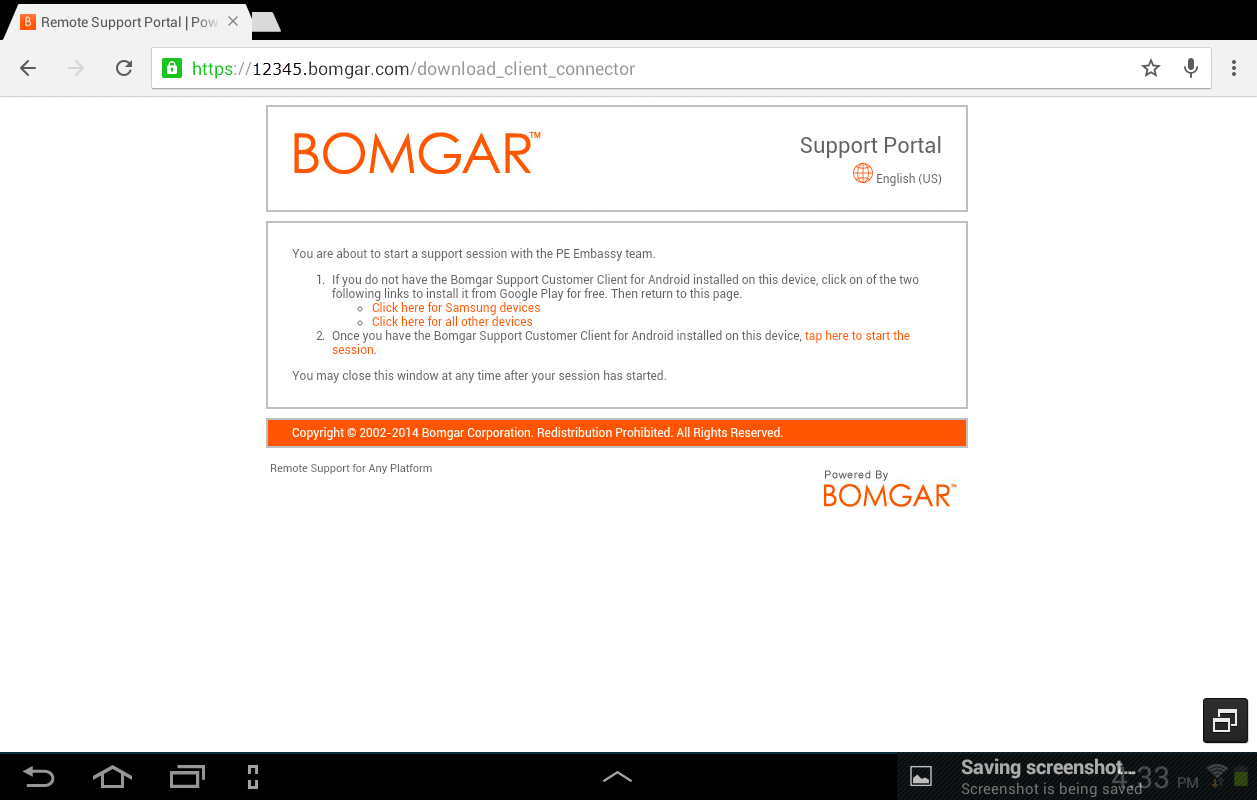 Bomgar for Samsung - screenshot