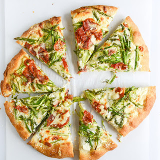 Shaved Asparagus and Whipped Ricotta Pizza.
