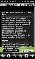 Screenshot of JAM FM New Music Radio