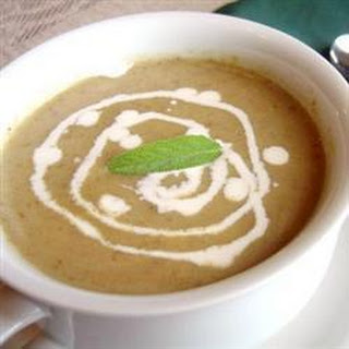 Roasted mushroom and Jerusalem artichoke soup.