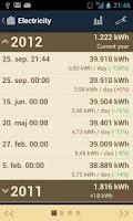 Screenshot of Meter Readings