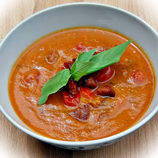 Roasted Tomato, Red Pepper and Chorizo Soup.