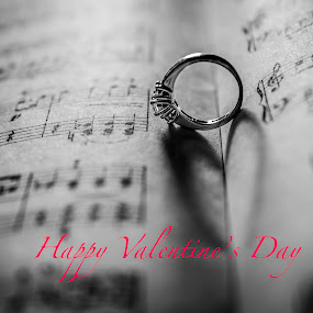 Valentine's Day card by H. Ava-Lyn Smith - Typography Captioned Photos ( valentine's day, love, ring, macro, jewellery, engagement ring, postcard, music notes )