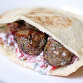 Lamb Meatballs with Yogurt and Pomegranate Seed Sauce.