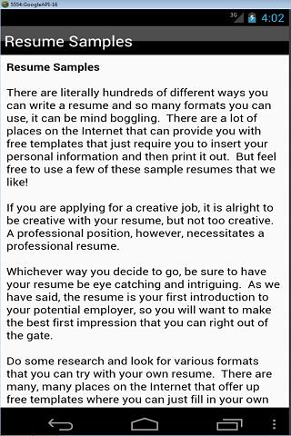 resume templates screenshot - Free Professional Resume Examples