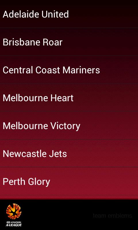 A-League teams emblems - screenshot