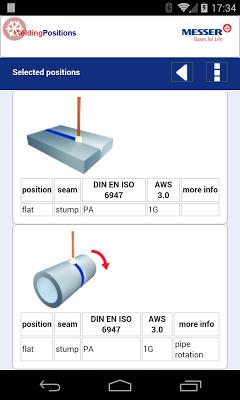 Welding positions (ISO 6947) - screenshot