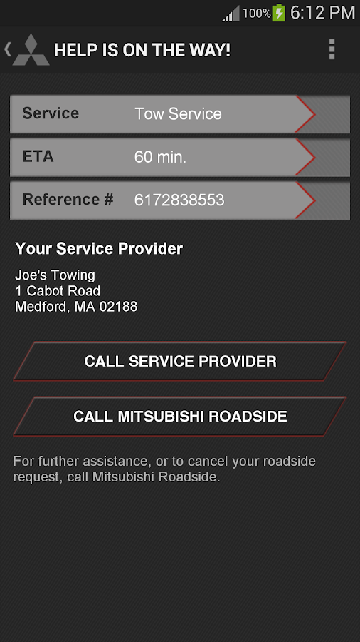 Mitsubishi Road Assist- screenshot