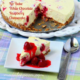 NO BAKE White Chocolate Raspberry Cheesecake with fresh Raspberry Coulis.