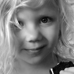 The Cookie by Maureen Rueffer - Babies & Children Children Candids ( black and white, b&w, child, portrait )