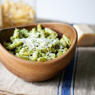 Nutty Arugula Pesto with Penne and Parmesan.