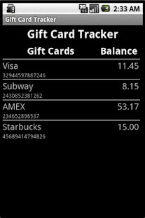 Gift Card Tracker- screenshot thumbnail