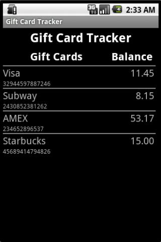 Gift Card Tracker- screenshot