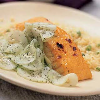 Broiled Salmon with Sweet-and-Sour Cucumbers.