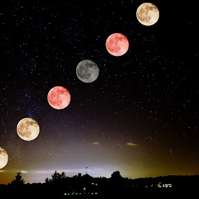 6 Blood moons by Jay Anderson - Landscapes Starscapes ( blood moon, moon, 6, star, starscapes, night, blood,  )