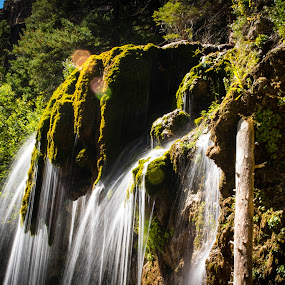 Hanging Lake Falls by Derrick Leiting - Landscapes Waterscapes ( exposure, hanging, water, tranquil, green, beautiful, falls, colorado, summer, mossy, lake, long,  )