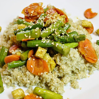 Tofu With Asparagus And Quinoa.