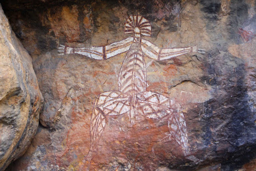 Australia-Northern-Territory-Kakadu-Cave-Painting - An ancient cave painting seen during a G Adventures expedition of the Northern Territory of Australia.