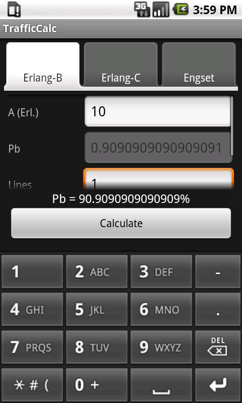 TrafficCalc- screenshot