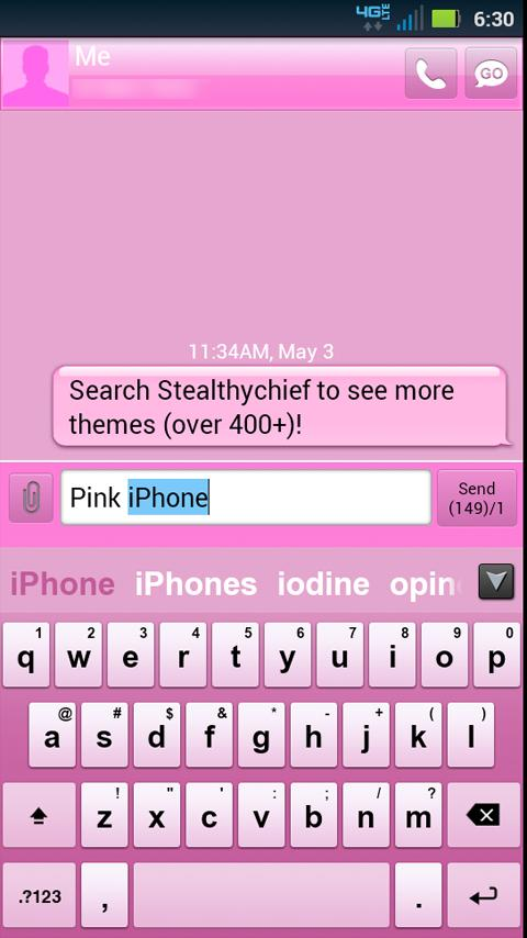 GO Keyboard Pink Theme- screenshot