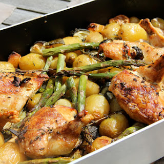 Roast Chicken with White Wine, Potatoes, Asparagus and Lemon.