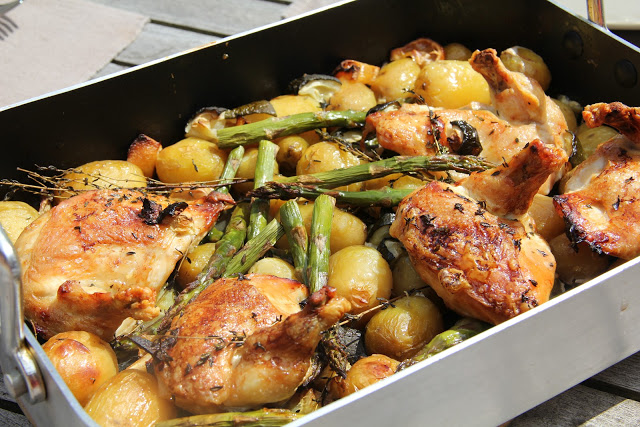 Roast Chicken with White Wine, Potatoes, Asparagus and Lemon Recipe