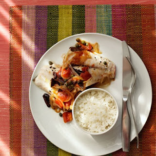 Red Snapper with Tomato-Olive Compote and Rice.