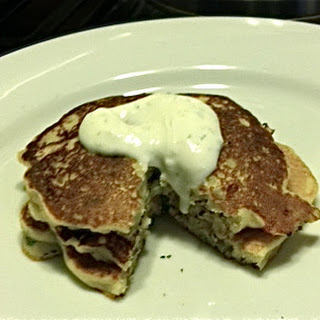Savory Masa Corn Cakes with Green Chile, Cheese and Lime Crema