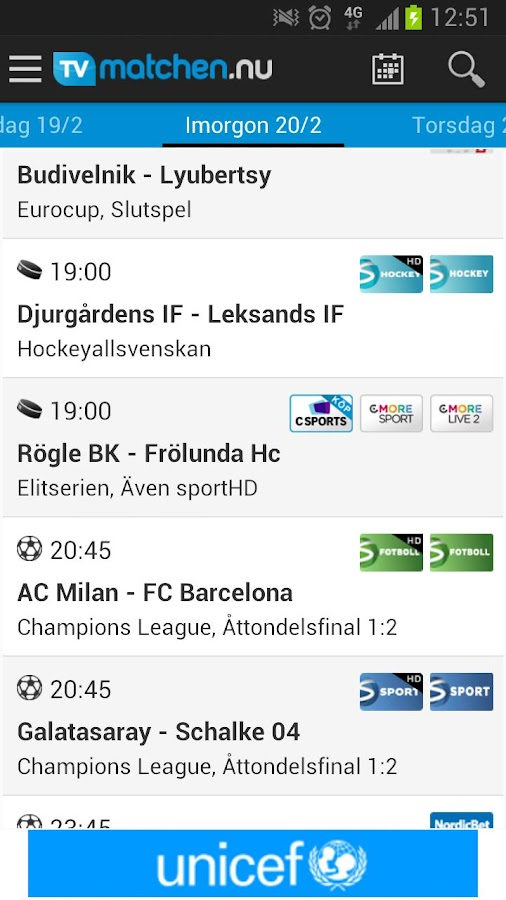 TVmatchen.nu - sport på TV - screenshot