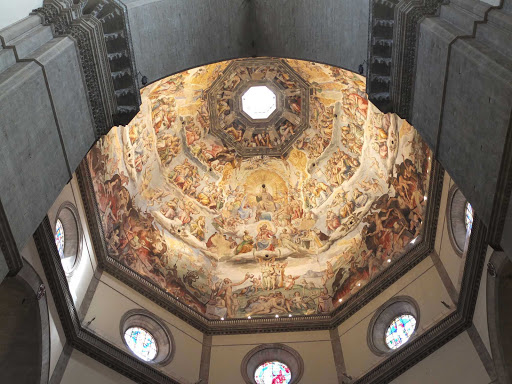 dome-florence-italy - The interior of Florence Cathedral, the landmark 1200s cathedral known for its red-tiled dome.