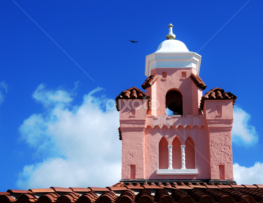 Rooftop Detail by Jamie Boyce - Buildings & Architecture Architectural Detail ( roof, detail, structure, florida, pink on blue, pink, rooftop, achitecture, hotel, pink building, business,  )