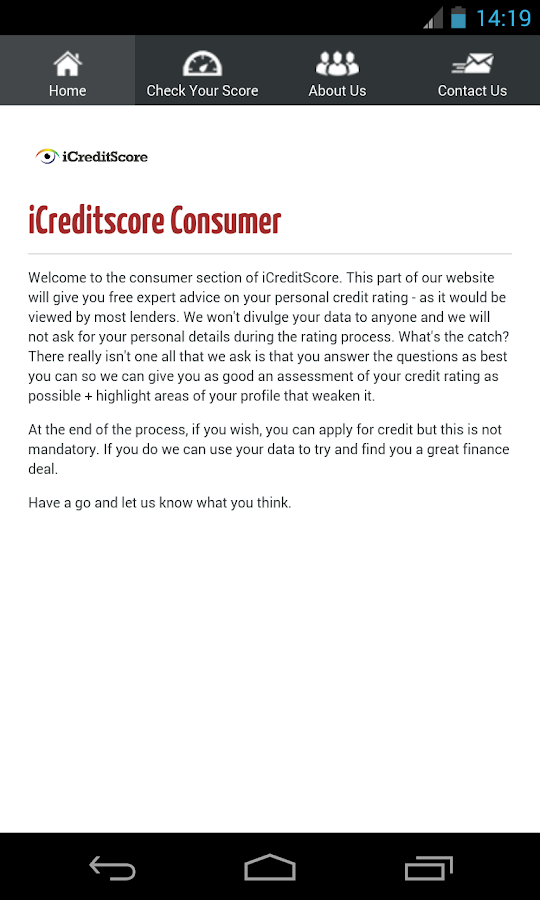 i credit score - screenshot