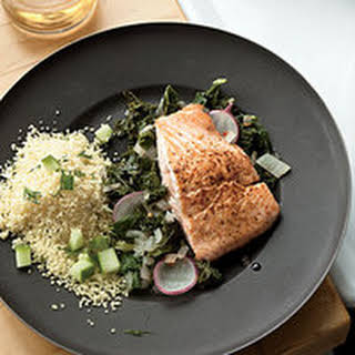 Salmon Fillets with Dill Couscous and Spicy Kale.