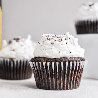 Kahlua and Cream Double Chocolate Chunk Cupcakes.