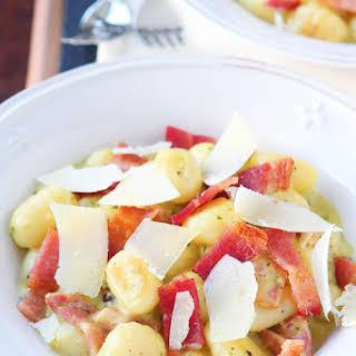 Creamy Pesto Gnocchi with Bacon & Parmesan.