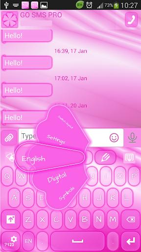 GO SMS Proのピンクのネオン