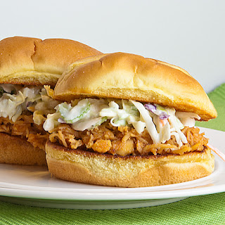 Buffalo Chicken Sliders with Ranch Slaw.