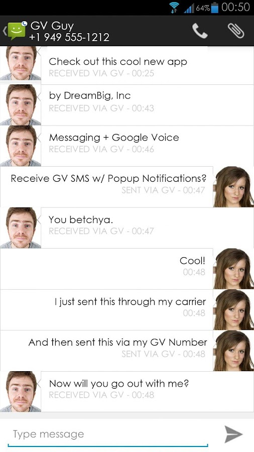Messaging + Google Voice - screenshot