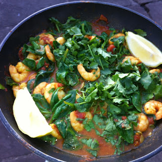 Moroccan Shrimps with Spinach