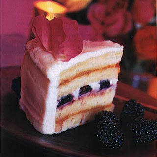 Wedding Cake with Blackberries and Roses.