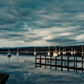 Blue Morning by John Ash - Landscapes Waterscapes ( windermere, yacht, jetty, cumbria boat, ambleside, lake district )