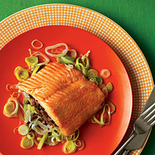 Arctic Char with Duxelles and Leeks.