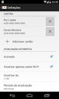 Screenshot of cartão à la card