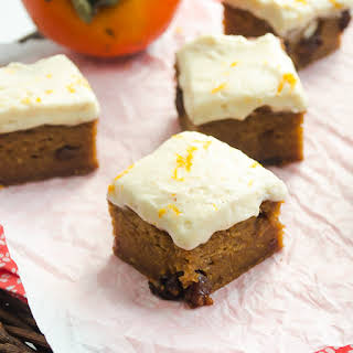 Sweet Persimmon Bars with Brown Butter Orange Frosting.