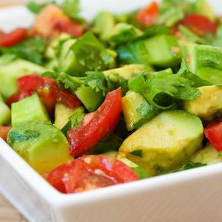 Vegan Tomato Salad with Cucumber, Avocado, Cilantro, and Lime Recipe